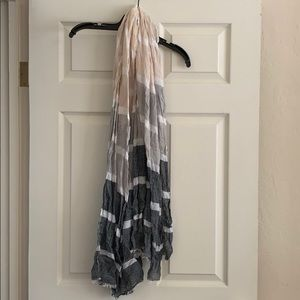 Accessories - Grey Striped Cotton Linen Scarf